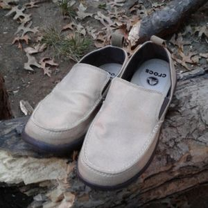 Crocs comfort canvas shoes, slip on.